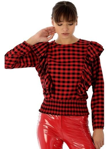 Emjey Belı Lastıklı Farbalı Gömlek Kırmızı